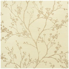 Schumacher Twiggy Sisal Floral Hand Printed Wallpaper in Gold on Ivory