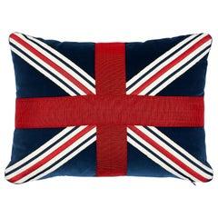 Schumacher Union Flag Pillow in Midnight
