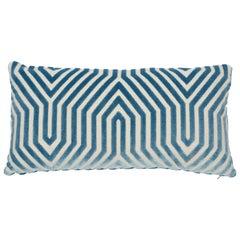 Schumacher Vanderbilt Velvet Marine Lumbar Two-Sided Pillow
