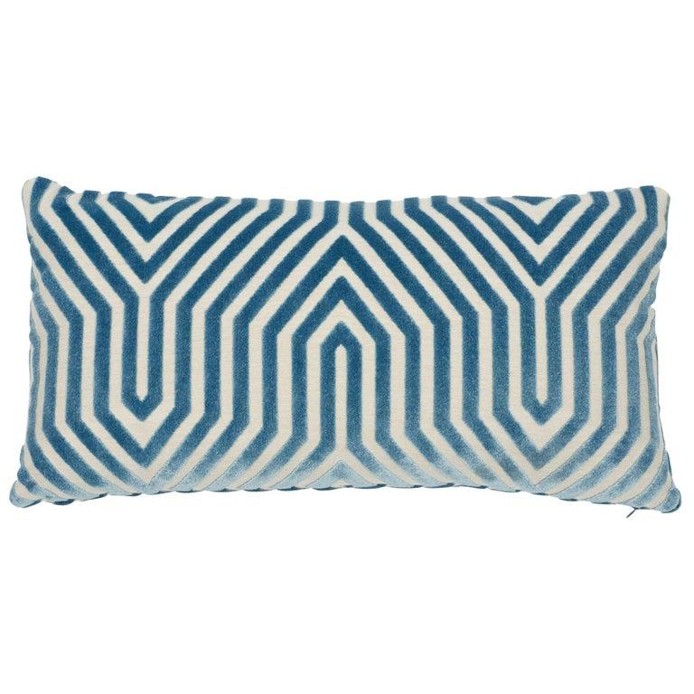 Schumacher Vanderbilt Velvet Marine Lumbar Two-Sided Pillow For Sale