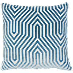 Schumacher Vanderbilt Velvet Pillow in Marine