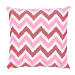 "Schumacher Vedado Ikat 20"" Pillow in Pink"