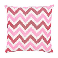 "Schumacher Vedado Ikat 22"" Pillow in Pink"