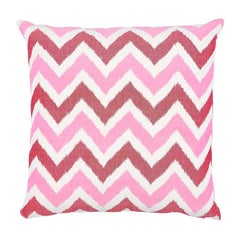 "Schumacher Vedado Ikat 24"" Pillow in Pink"
