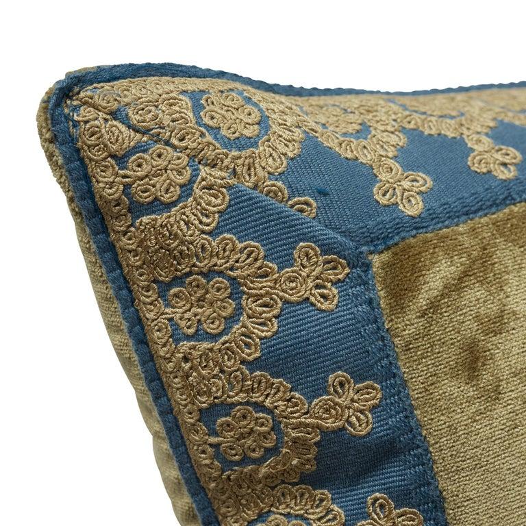 Modern Schumacher Venetian Silk Velvet Hazel Lumbar Pillow For Sale