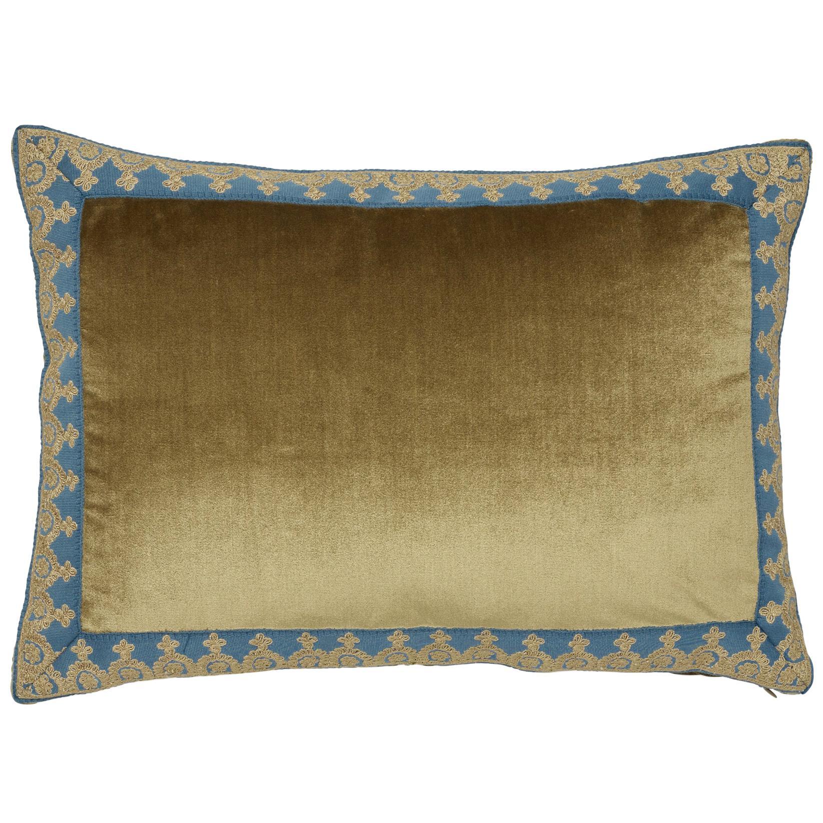 Lumbar pillow, Blue velvet, Lumbar