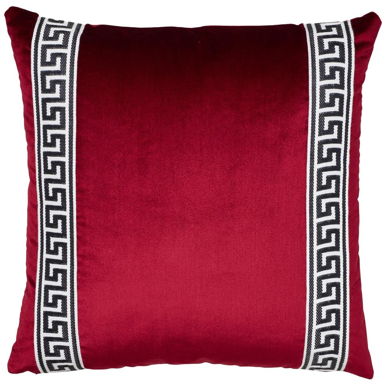 Schumacher Venetian Silk Velvet Port Two-Sided Pillow