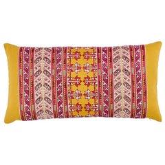"Schumacher Vinka Embroidery 24"" Lumbar Pillow in Pink & Yellow"