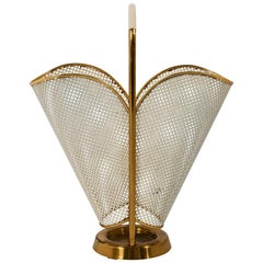 Schumacher Vintage Umbrella Stand with Brass and Perforated Crème Painted Steel