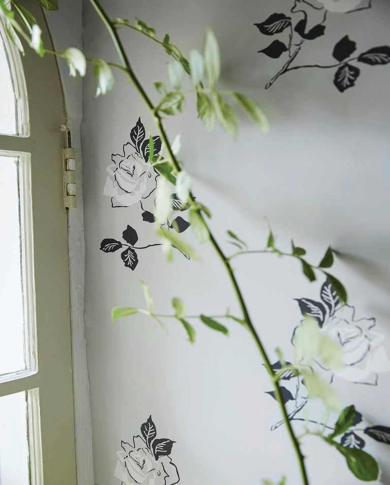 American Schumacher Vogue Living Adele Floral Wallpaper in Blackwork For Sale