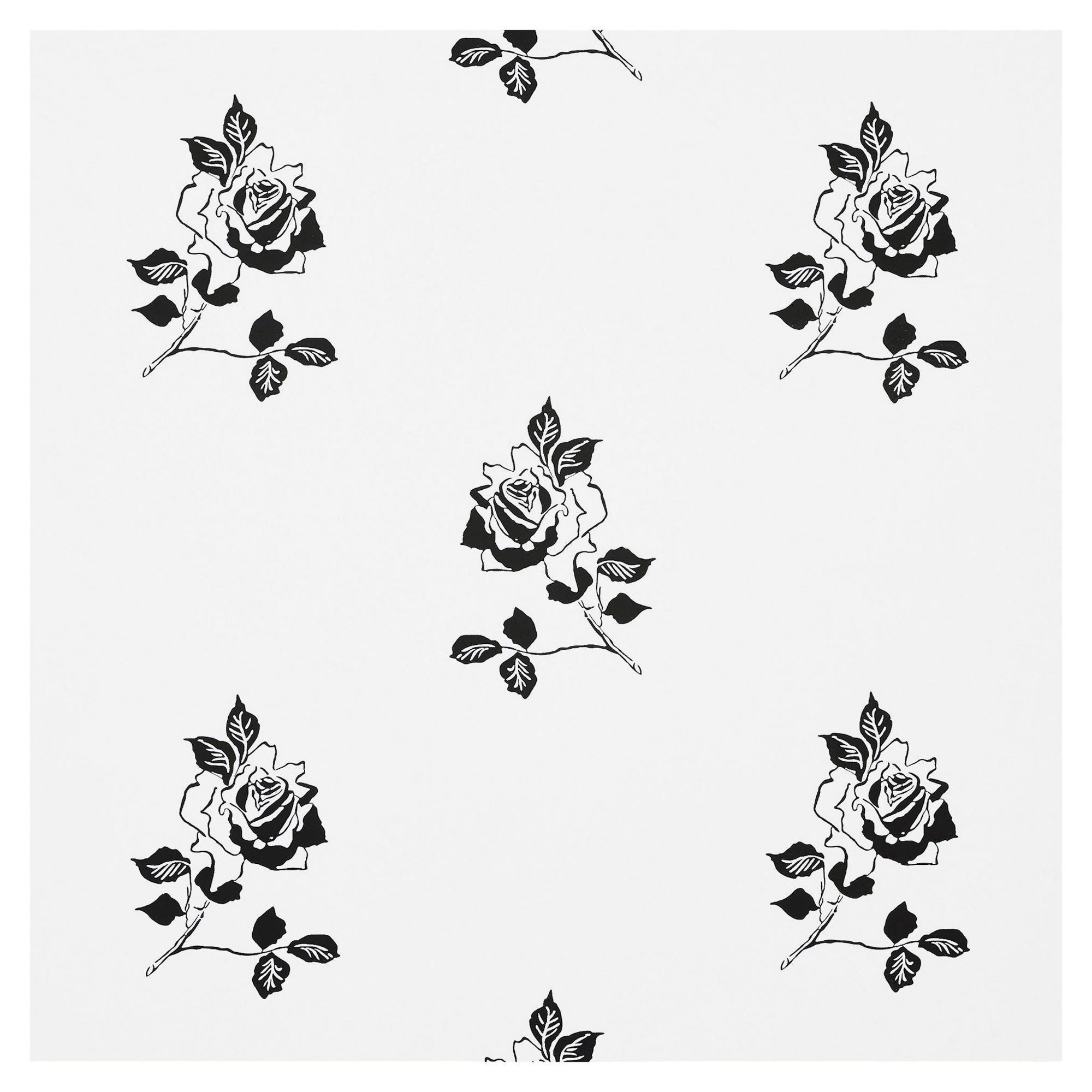 Schumacher Vogue Living Adele Floral Wallpaper in Blackwork