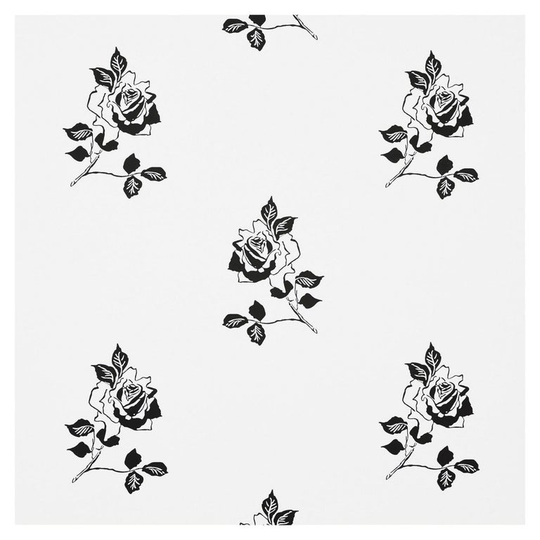 Schumacher Vogue Living Adele Floral Wallpaper in Blackwork For Sale