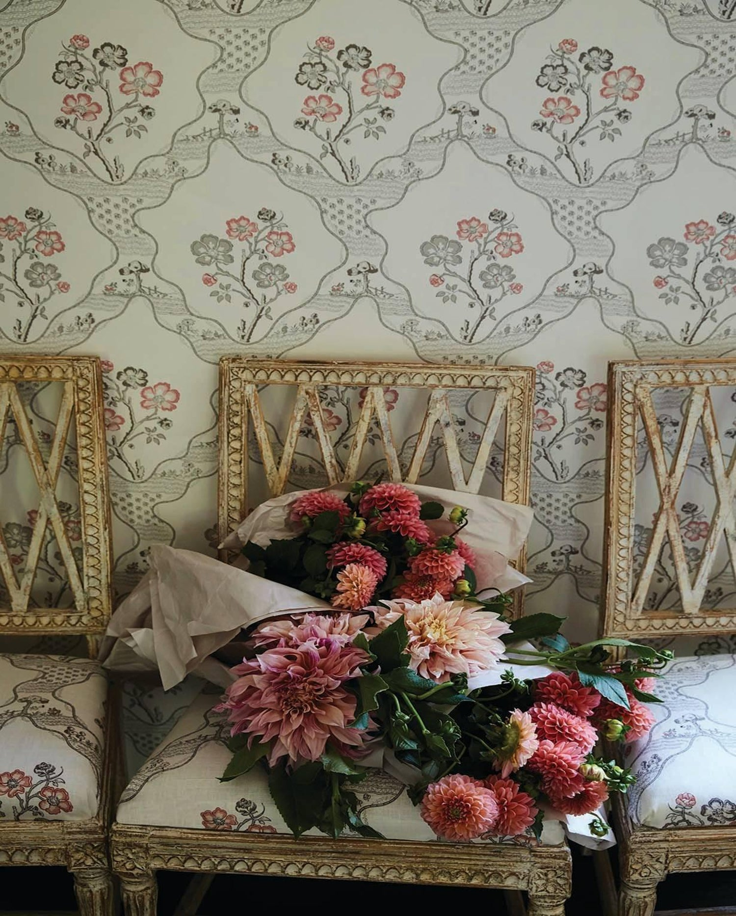Schumacher Vogue Living Marella Floral Trellis Delft Wallpaper Two