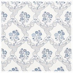 Schumacher Vogue Living Marella Floral Trellis Wallpaper in Delft