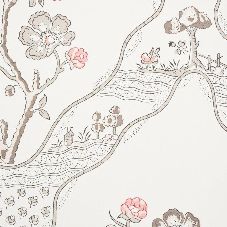 Bohemian Schumacher Vogue Living Marella Floral Trellis Wallpaper in Rose For Sale