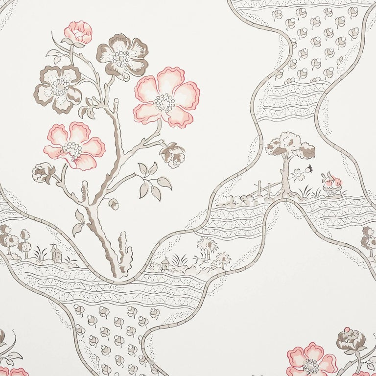 Schumacher Vogue Living Marella Floral Trellis Wallpaper in Rose In New Condition For Sale In New York, NY
