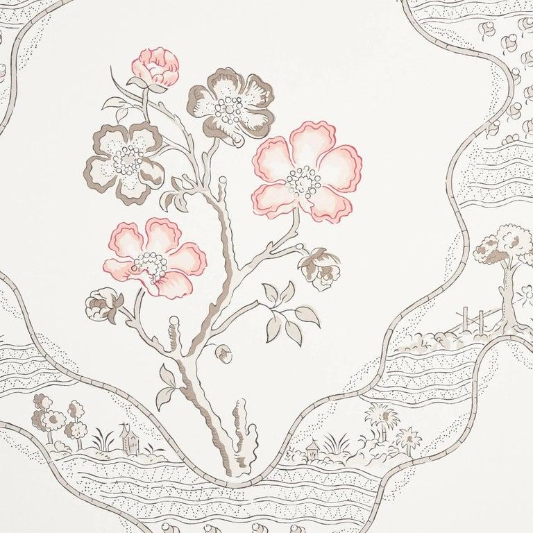 Contemporary Schumacher Vogue Living Marella Floral Trellis Wallpaper in Rose For Sale