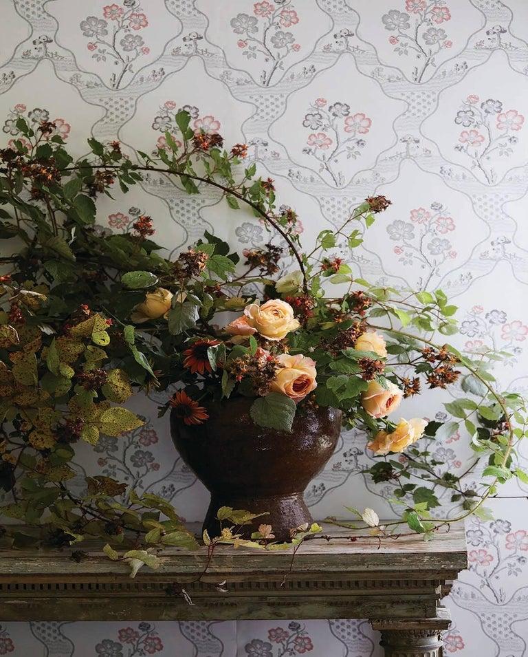 Paper Schumacher Vogue Living Marella Floral Trellis Wallpaper in Rose For Sale