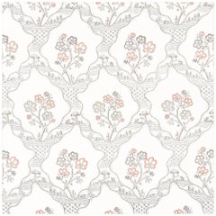 Schumacher Vogue Living Marella Floral Trellis Wallpaper in Rose