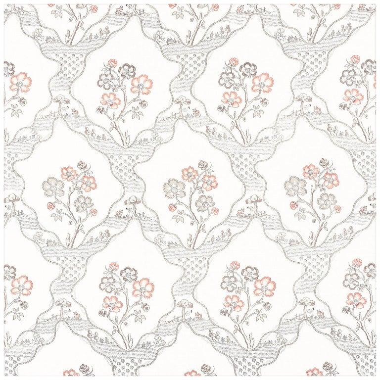 Schumacher Vogue Living Marella Floral Trellis Wallpaper in Rose For Sale