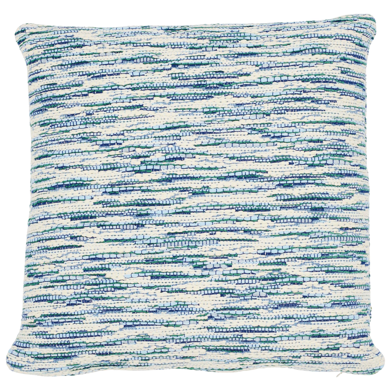 Schumacher Walker Blues Cotton Linen Two-Sided Pillow