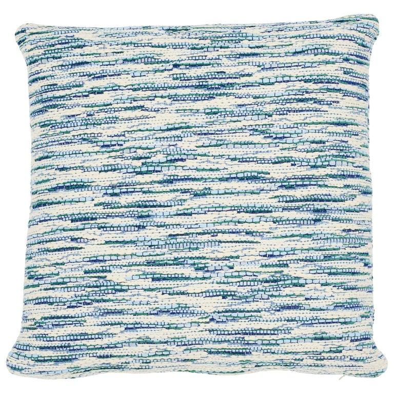 Schumacher Walker Blues Cotton Linen Two-Sided Pillow For Sale