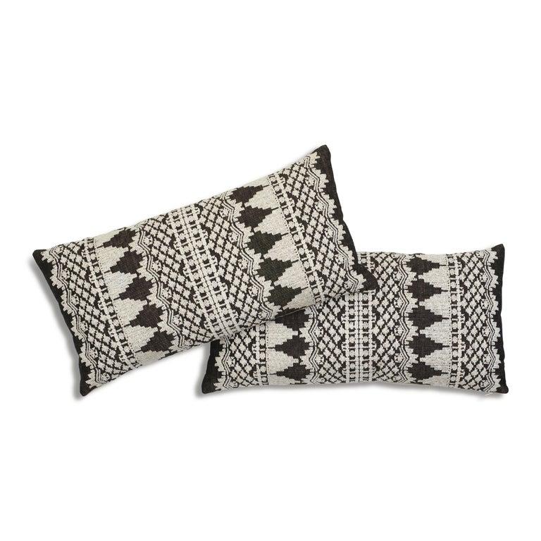 Modern Schumacher Wentworth Embroidery Carbon Linen Cotton Lumbar Pillow For Sale