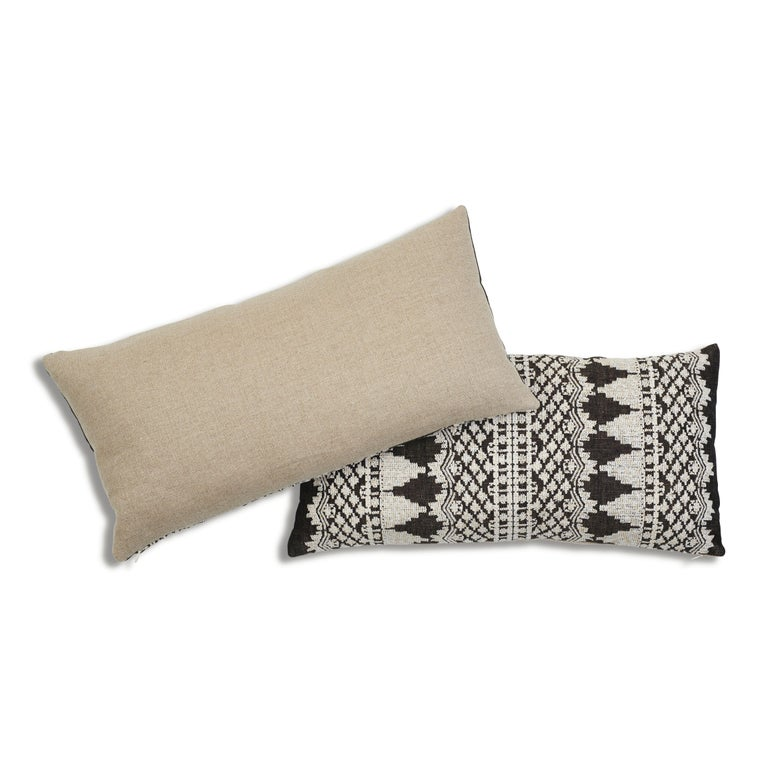 Schumacher Wentworth Embroidery Carbon Linen Cotton Lumbar Pillow In New Condition For Sale In New York, NY