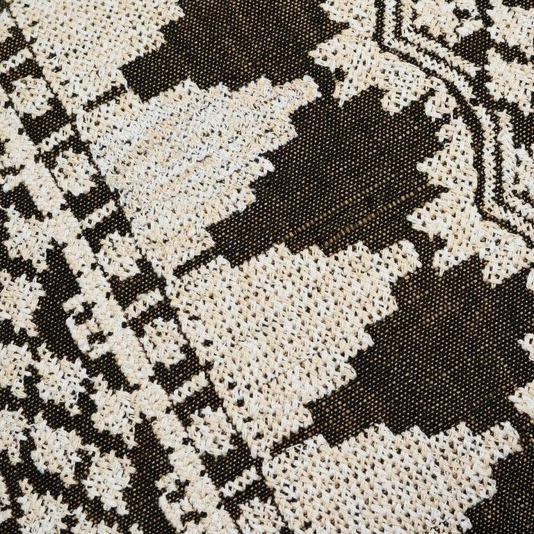 Contemporary Schumacher Wentworth Embroidery Carbon Linen Cotton Lumbar Pillow For Sale