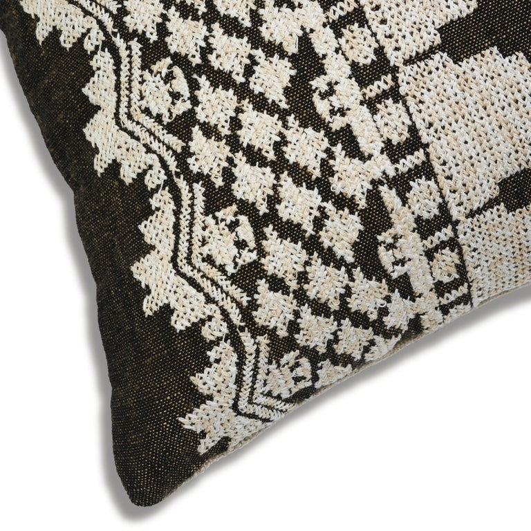 Schumacher Wentworth Embroidery Carbon Linen Cotton Lumbar Pillow For Sale 1