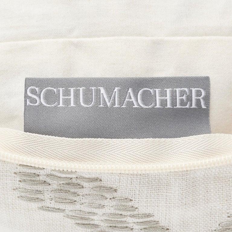 Schumacher Wentworth Embroidery Carbon Linen Cotton Lumbar Pillow For Sale 3