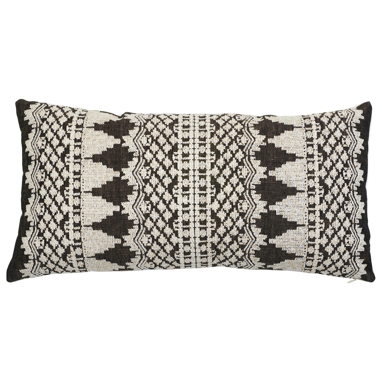 Schumacher Wentworth Embroidery Carbon Linen Cotton Lumbar Pillow