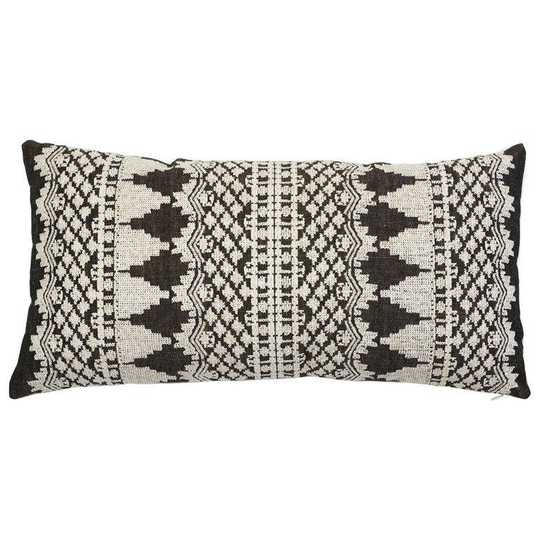 Schumacher Wentworth Embroidery Carbon Linen Cotton Lumbar Pillow For Sale