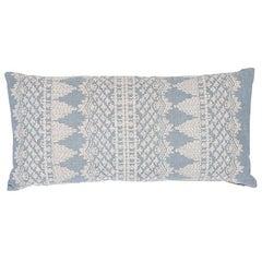 Schumacher Wentworth Embroidery Chambray Linen Cotton Lumbar Pillow