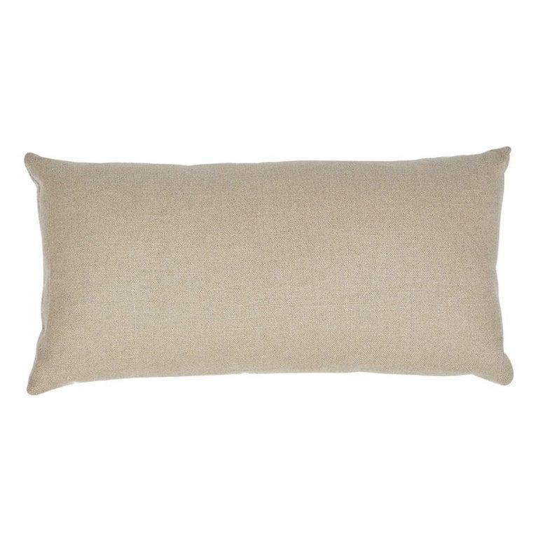 Modern Schumacher Wentworth Embroidery Natural Linen Cotton Lumbar Pillow For Sale