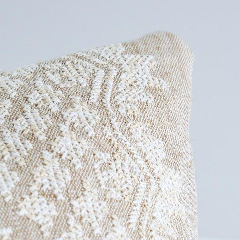 Indian Schumacher Wentworth Embroidery Natural Linen Cotton Lumbar Pillow For Sale
