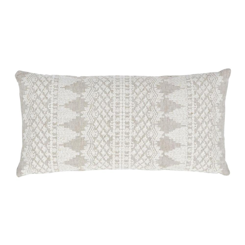 Schumacher Wentworth Embroidery Natural Linen Cotton Lumbar Pillow