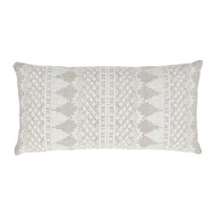 Schumacher Wentworth Embroidery Natural Linen Cotton Lumbar Pillow