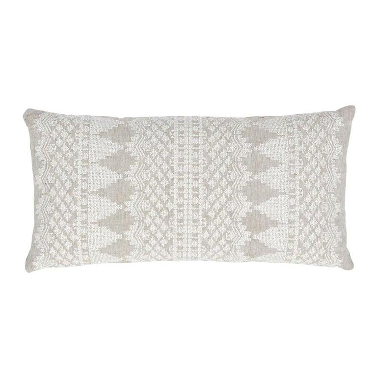 Schumacher Wentworth Embroidery Natural Linen Cotton Lumbar Pillow For Sale