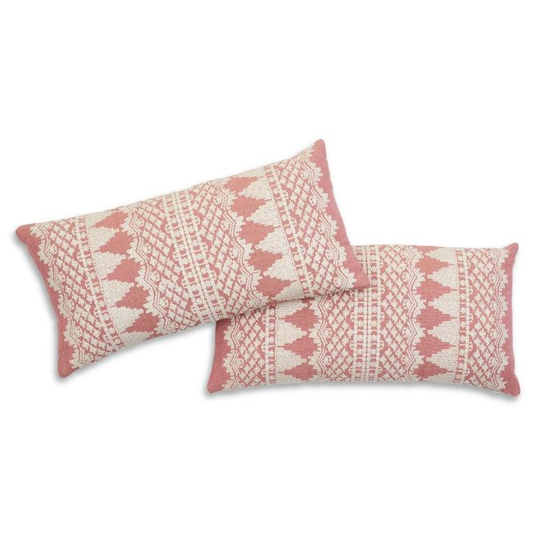 Modern Schumacher Wentworth Embroidery Rose Linen Cotton Lumbar Pillow For Sale