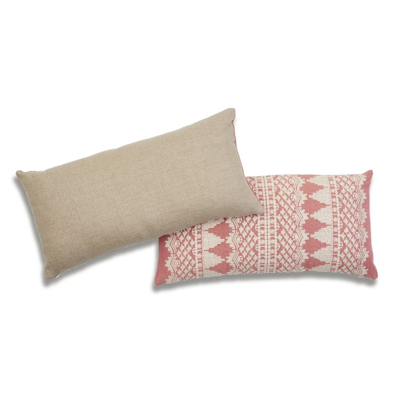 Schumacher Wentworth Embroidery Rose Linen Cotton Lumbar Pillow In New Condition For Sale In New York, NY