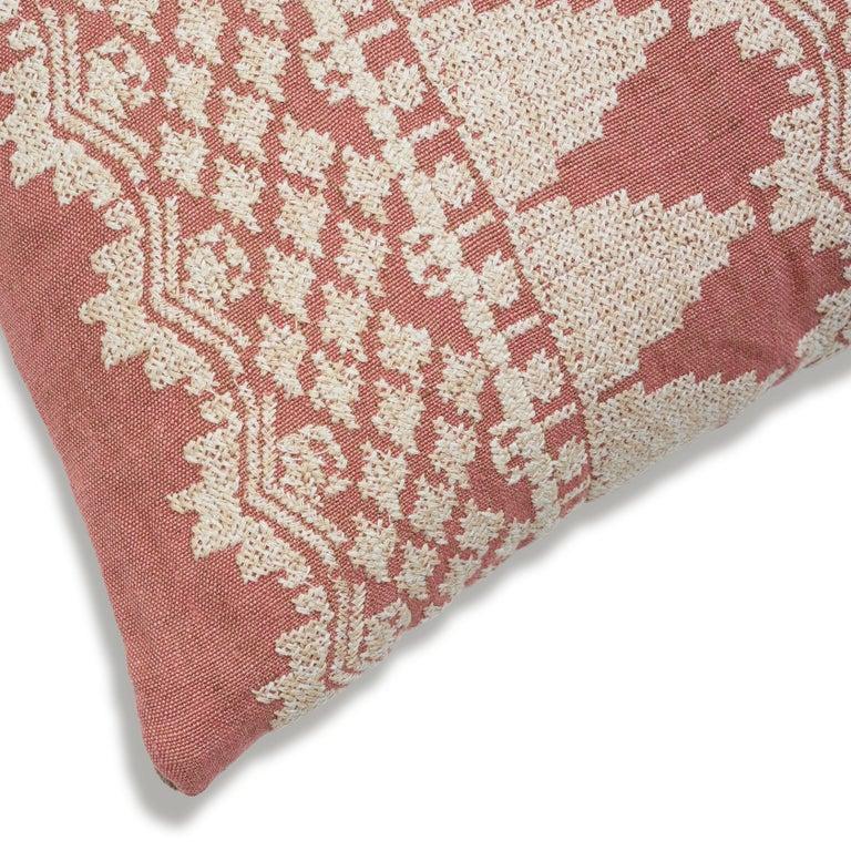 Contemporary Schumacher Wentworth Embroidery Rose Linen Cotton Lumbar Pillow For Sale