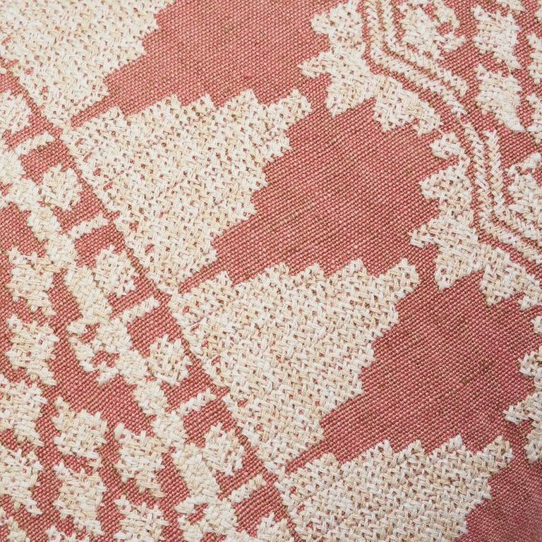 Schumacher Wentworth Embroidery Rose Linen Cotton Lumbar Pillow For Sale 1