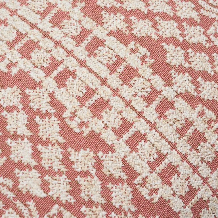 Schumacher Wentworth Embroidery Rose Linen Cotton Lumbar Pillow For Sale 2