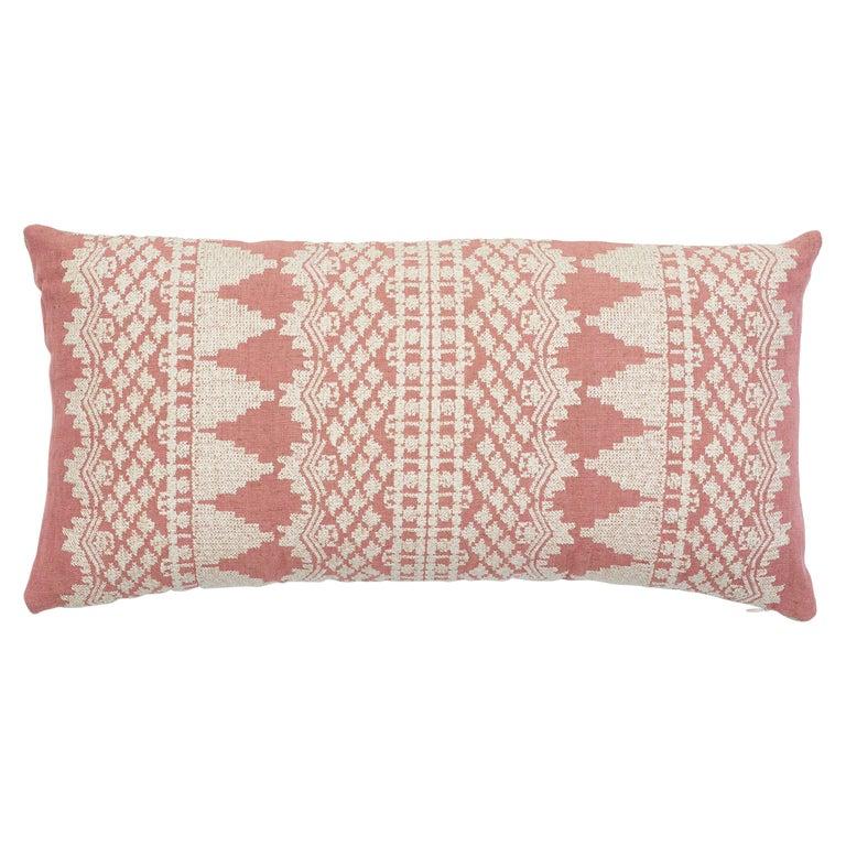 Schumacher Wentworth Embroidery Rose Linen Cotton Lumbar Pillow For Sale