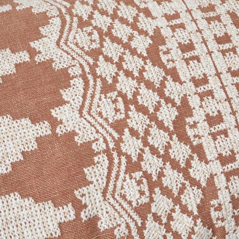 Modern Schumacher Wentworth Embroidery Rust Linen Cotton Pillow For Sale