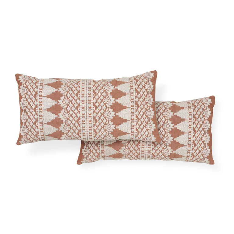 Indian Schumacher Wentworth Embroidery Rust Linen Cotton Pillow For Sale