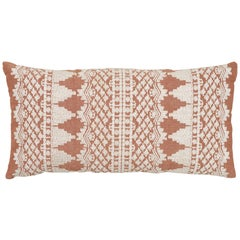 Schumacher Wentworth Embroidery Rust Linen Cotton Pillow