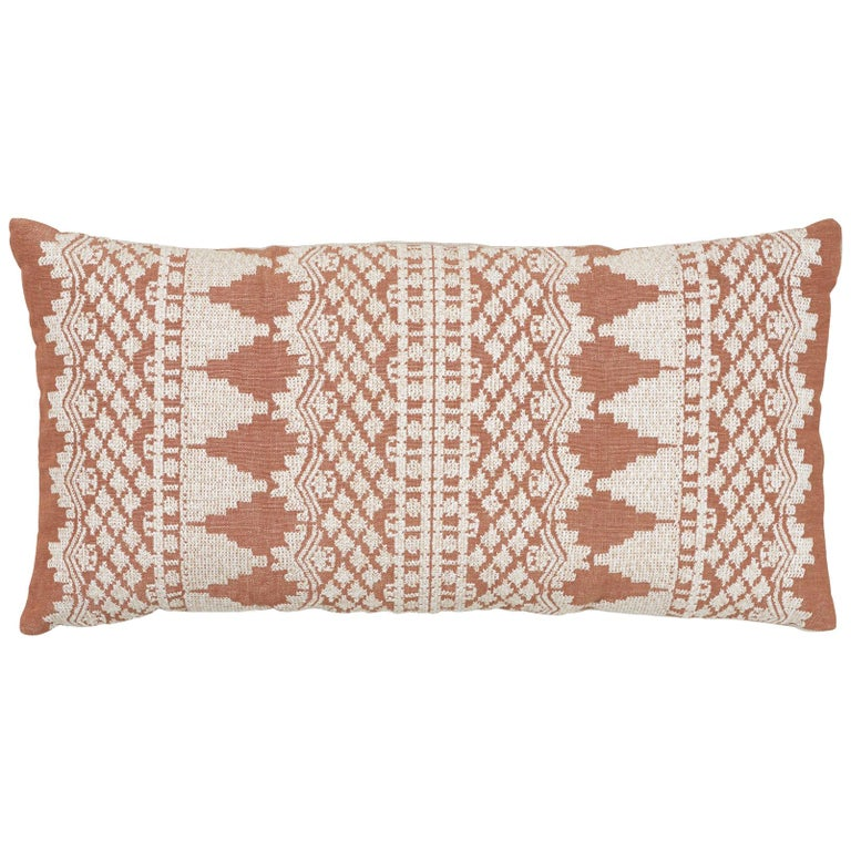 Schumacher Wentworth Embroidery Rust Linen Cotton Pillow For Sale