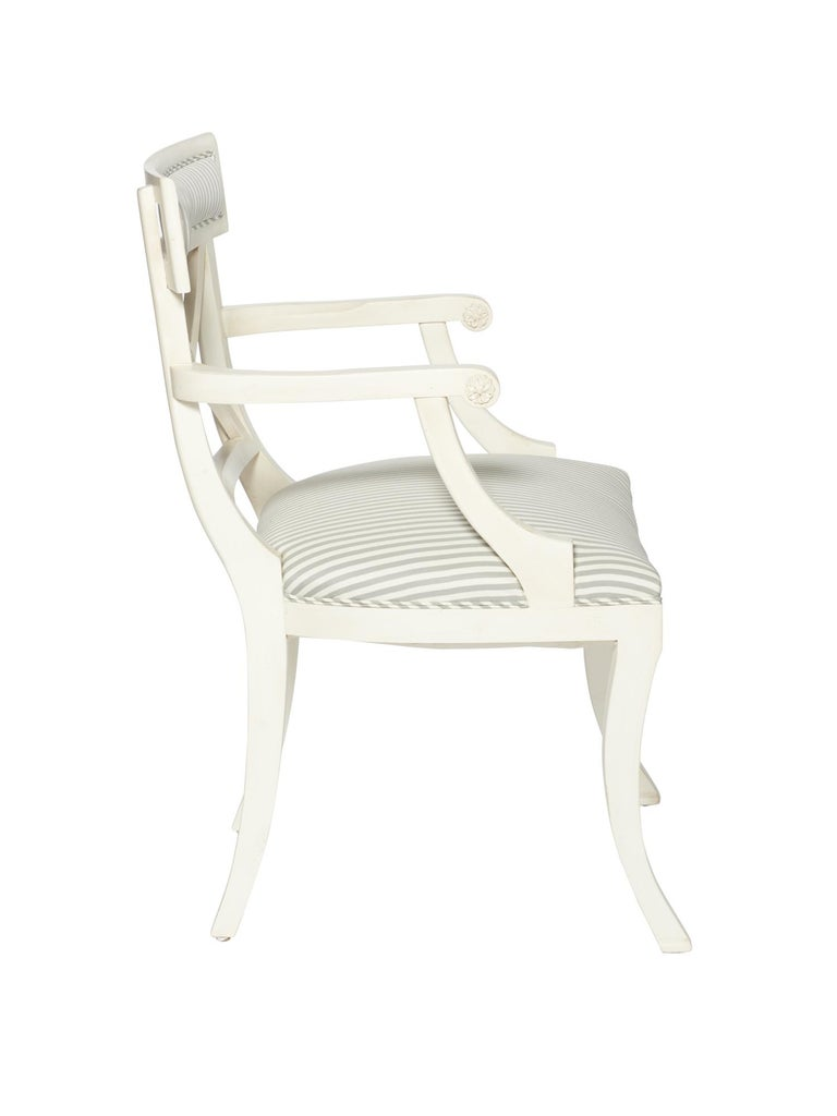 Schumacher Westminster Brigitte Stripe Grey Hand-Carved Beechwood Frame Armchair In New Condition For Sale In New York, NY